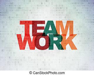financiën, concept:, teamwork, op, digitale , data, papier, achtergrond