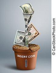 financiën, creatief, concept, geld, groei, als, bloem, in, pot