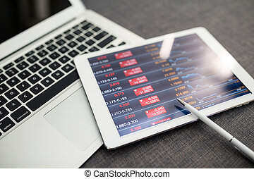 financiën, data, op, digitaal tablet