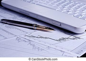 financiën, diagrammen, analyse