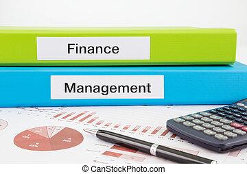 financiën, en, management, documenten, met, rapporten