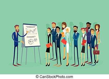 financiën, groep, zakenlui, draai grafiek om, businesspeople, presentatie