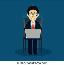 financiën, idea., zakelijk, leadership., blauwe , concept., spelend, computer, vector, creatief, achtergrond., illustratie, zakenman, stoel, zittende , notebook.