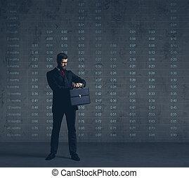 financiën, kantoor, carrière, op, formalwear, zakelijk, donker, achtergrond., zakenman, concept.