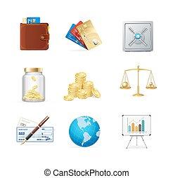 financiën, kleur, pictogram, set., vector