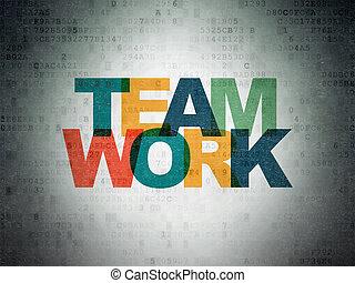 financiën, papier, teamwork, achtergrond, digitale , data, concept: