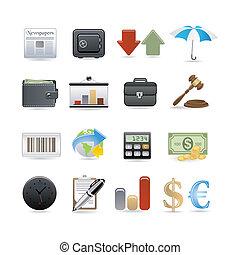 financiën, pictogram, set