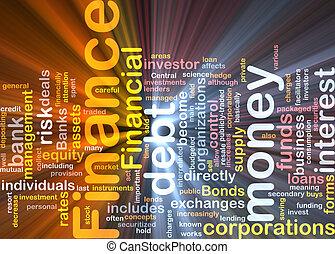 financiën, woord, wolk, gloeiend