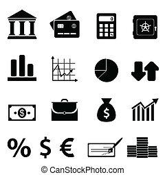 financiën, zakelijk, en, bankwezen, iconen