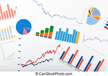financiën, zakelijk, grafieken, -, diagrammen, analytics, papieren