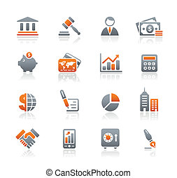 financiën, zakelijk, &, iconen, /, grafiet