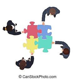 financiën, zakenlui, raadsel, jigsaw, oplossing, pieces., team, concept.