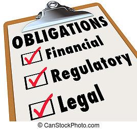 financia, obligations, liste contrôle, légal, marque, boîtes...