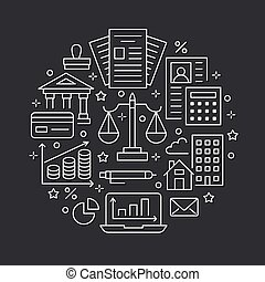 Financial accounting circle poster flat line icons....