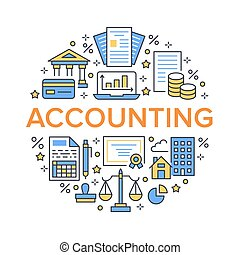 Financial accounting circle poster with flat line icons....