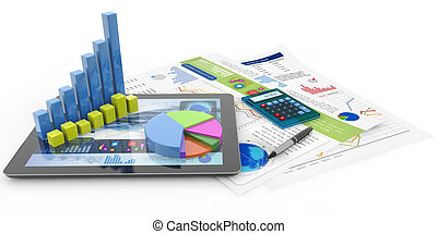 financial accounting concept - graphics, calculator, pen, ...