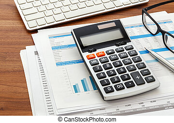 Financial accounting on wood desk