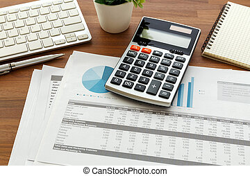 Financial accounting on wooden table