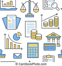 Financial accounting seamless pattern flat line icons....