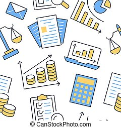 Financial accounting seamless pattern with flat line icons....