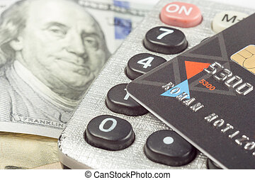 Financial accounting stock market analysis closeup pen, credit card money