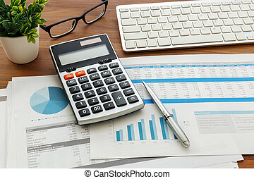 Financial accounting with calculator and fianancial data