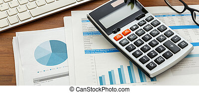 Financial accounting with calculator and financial chart ...