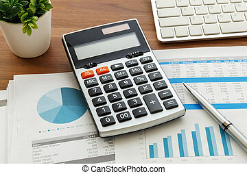 Financial accounting with chart and calculator