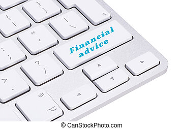 Financial advice button on keyboard, finance concept