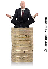 Financial Advisor guru - Financial Advisor sat on a stack of...