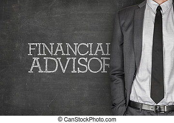 Financial advisor on blackboard with businessman in a suit...
