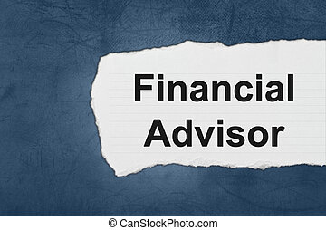 financial advisor with white paper tears on blue texture