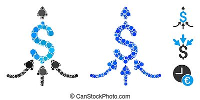 Financial aggregator composition of filled circles in various sizes and color hues, based on financial aggregator icon. Vector filled circles are united into blue illustration.