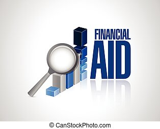 financial aid business graph illustration design over a ...