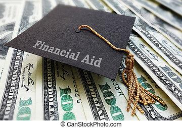 Financial Aid graduation cap on money
