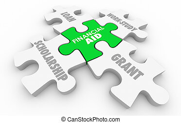 Financial Aid Scholarship Loan Grant College Education Puzzle 3d Illustration