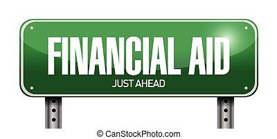 financial aid street sign illustration