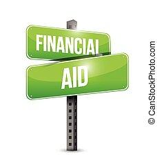 financial aid street sign illustration design
