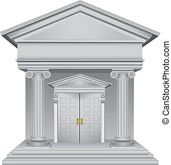 Financial symbolic allegory of the bank building. Vector illustration.