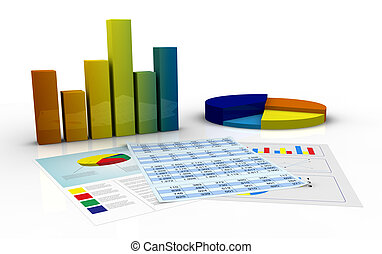 bar and pie charts and paper documents with spreadsheet and financial data (3d render)