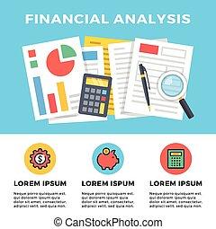 Financial analysis. Flat banner