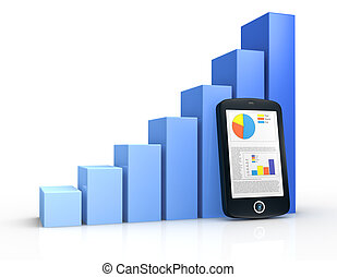 financial analysis - one growing bar chart and a portable...