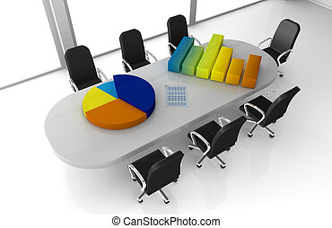 financial analysis - one office room with bar and pie charts...