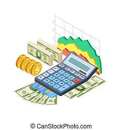 Financial analytics, bookkeeping vector concept. Cash,...