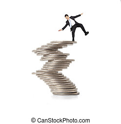 financial and crisis concept. businessman standing on the...