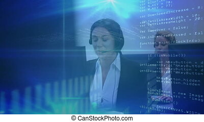 Animation of financial data processing over woman wearing phone headset working in an office. Global business finance network interface concept digital composite.