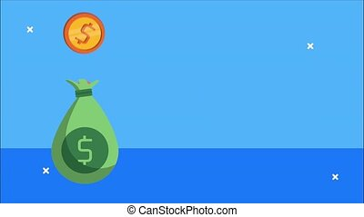 financial animation with money bag and coins,4k video animated