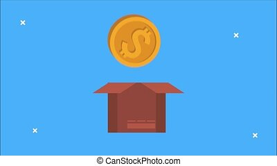 financial animation with money coin in box ,4k video animated