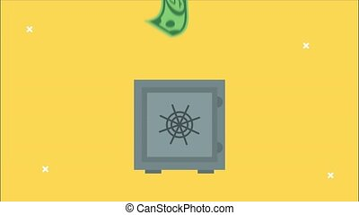 financial animation with safebox and bill dollar,4k video animated