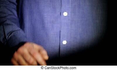 financial., appearing., financier, fonctionnement, blue., couleur, écran, toucher, icons., visuel, informatique, interface., homme affaires, portefeuille, holographic, homme, mon, options, diagrammes, plus